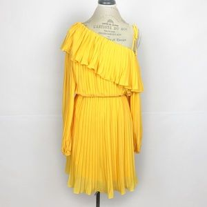 Endless Rose Yellow Pleated One Shoulder Dress